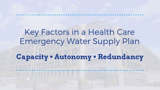 key factors in a health care emergency water supply plan